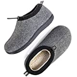 ULTRAIDEAS Men's Cozy Memory Foam Woolen Slippers with Elasticated Collar, Warm Closed Back House Shoes with Indoor Outdoor Anti-Skid Rubber Sole (Dark Grey, Size 9)