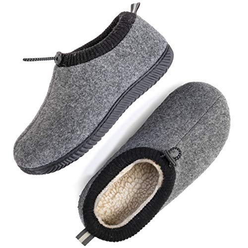 ULTRAIDEAS Men's Cozy Memory Foam Woolen Slippers with Elasticated Collar, Warm Closed Back House Shoes with Indoor Outdoor Rubber Sole (Dark Grey, Size 10)