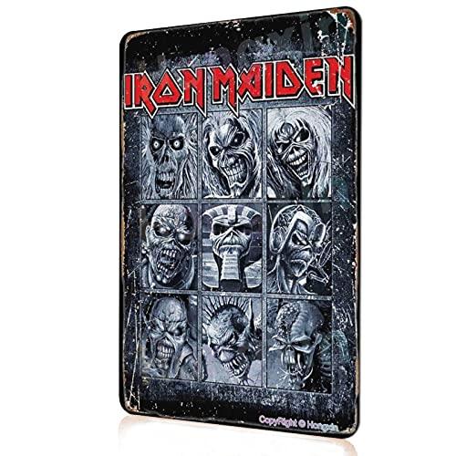 HONGXIN Iron Maiden Posters Targa vintage in metallo poster arte parete garage Home Office Bar Café Decor 8 × 12 pollici