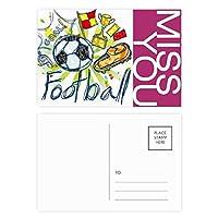 フットボールサッカー漫画シリーズのパターン ポストカードセットサンクスカード郵送側20個ミス