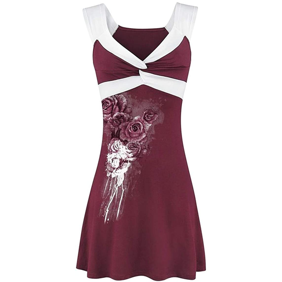 Sunhusing Women's Print Patchwork Sleeveless Vest Top Twist Knotted Wrapped Pleated Shirt