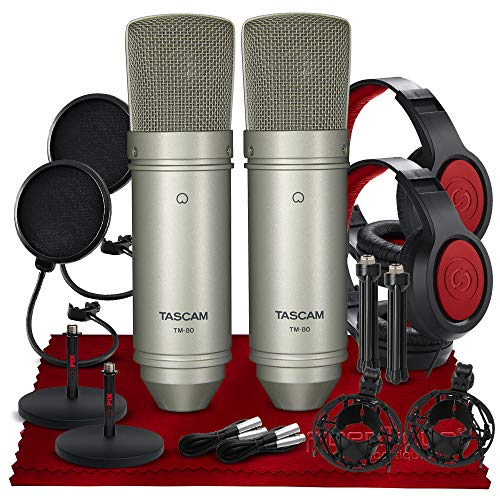 Tascam TM-80 Large Diaphragm Condenser Microphone Duet Package with 2X TM-80 Microphone, 2X Closed-Back Headphone, 2X Mic Stand, 2X Pop Filter, and Fibertique Cloth
