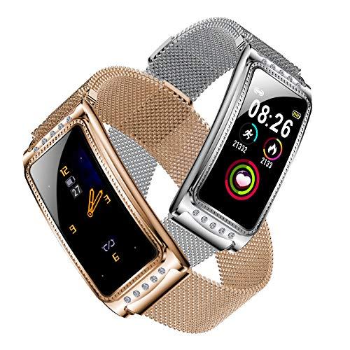 SZHAIYU Frauen Smart Watch Armband Fitness Tracker Farbdisplay Smartwatch Weibliche physiologischen Zyklus Pulsmesser Blutdruck Armbanduhr (Silber)