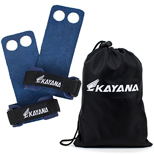 KAYANA 2 Hole Leather Gymnastics Hand Grips - Palm Protection and Wrist Support for Cross Training, Kettlebells, Pull ups, Weightlifting, Chin ups, Workout, Exercise (Blue, Large)