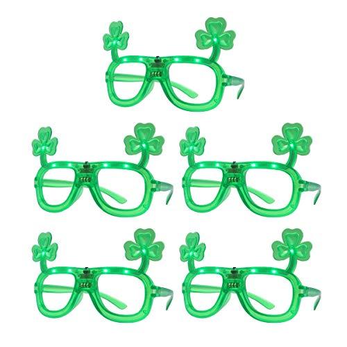 Amosfun 5 unids Disfraz de San Patricio Gafa para Fiestas Divertidas de Irlandesa Verde Trébol (Verde)