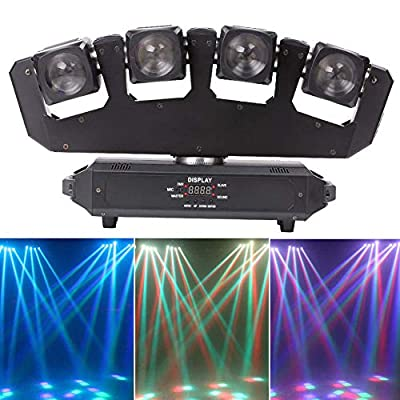 U`King LED Moving Head Light RGBW 80W Four-Headed with DMX Stage Beam Spider Light Suitable for Stage Party Disco Bar Lighting, Fully Adjustable and Dimmable, UK Plug