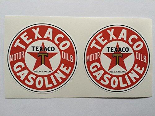 2 Texaco Gasoline Motor Oil Die Cut Decals