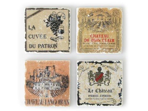 4 Stück Shabby Vintage Glasuntersetzer aus Marmor FRANZÖSISCHE WEINE B Untersetzer Antik Landhaus Frankreich