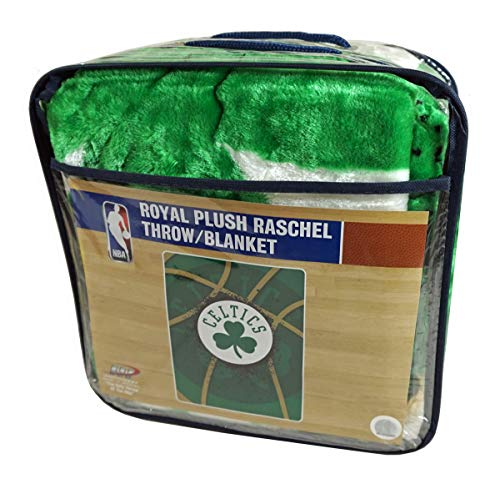 Northwest Boston Celtics NBA Shamrock Logo 60x80 inch Twin Size Royal Raschel Throw Blanket