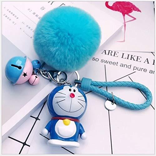 Llavero de Dibujos Animados Linda de la Historieta del Doraemon Felpa Llavero Colgante pequeña Campanilla Mujeres Los Regalos creativos del Coche del Bolso Keyring decoración (Color : Dark Red)