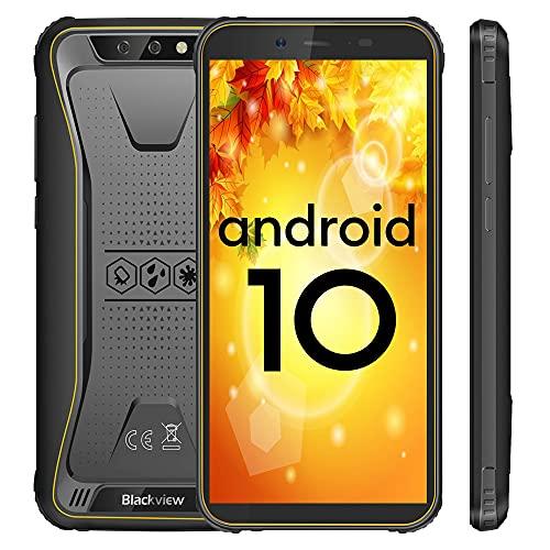 Blackview BV5500 Plus Outdoor Smartphone ohne Vertrag Günstige, IP68 Android 10 Robustes Handy, 3GB + 32GB, 5,5 Zoll Bildschirm, 8MP+5MP, 4400mAh Akku, NFC, Face ID, Dual SIM, Gelb
