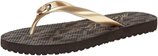 Michael Kors Womens Signature Flip Flops Gold Size 10