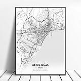 lubenwei Póster Mapa de España de Tarragona Salamanca Ibiza Granada Cádiz Málaga 50x70cm Sin Marco AQ-950