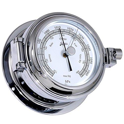 Trésor Baromètre, Serie Success, forgé Boîtier en laiton chromé, cadran blanc, 2 noires échelle HG et HPA, précision de + de 10hpa