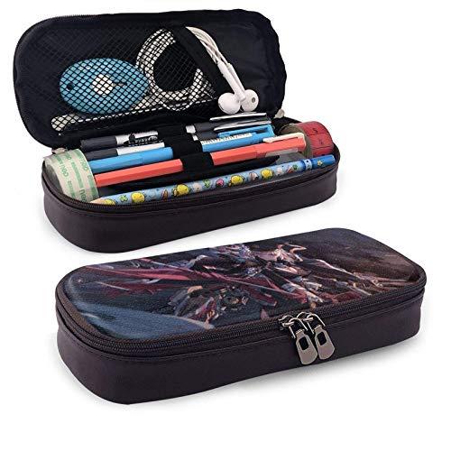 Azur Lane Bismarck Estuche de piel de gran capacidad con cremallera de alta capacidad para lápices, organizador de escritorio, práctico soporte para bolsas