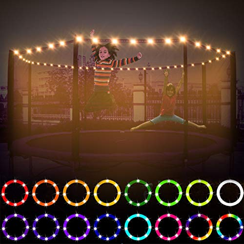 LED Trampoline Lights Remote Control Waterproof 100 Lamp Bead,16 Color 4 Mode Bright Night Outdoor Indoor Trampoline Rim Light for 6ft 8ft 10ft 12ft Trampoline, Great Gifts for Girl Boy Battery Box