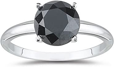 1/2-10 Carat Total Weight Round 14K White Gold Round Black Diamond Ring (AAA Quality)