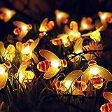 MYAMIA Cadena de Luz Solar Pequeña Abeja Decoración de Patio de Navidad al Aire Libre Linterna-Blanco Cálido 20 pcs