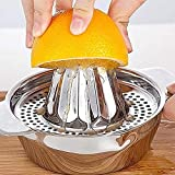 Manual Juicer Stainless Steel Juice Orange Lime Lemon Fruit Squeezer Maker Strainer with Bowl Handle Pour Spout for Home Bar Kitchen