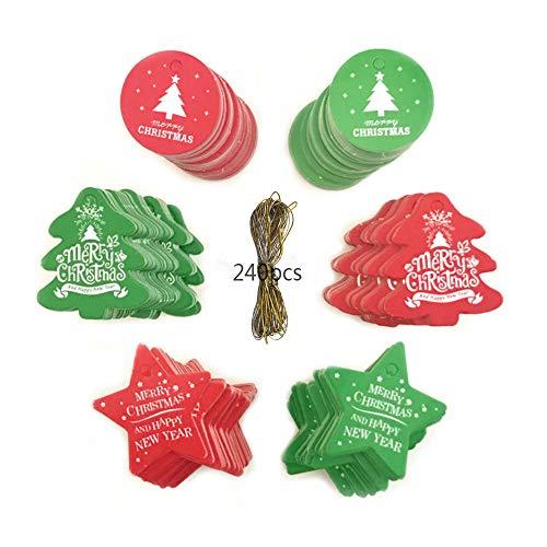 Anyingkai 240PCS Etiquetas de Navidad,Etiquetas de Papel Kraft,Papel Kraft Etiquetas,papel Kraft Etiqueta colgante,Árbol de...