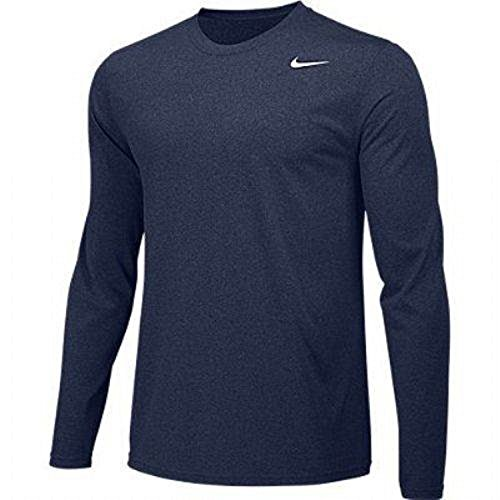 Nike Boys Legend Long Sleeve Athletic T-Shirt (Navy, Youth Medium)