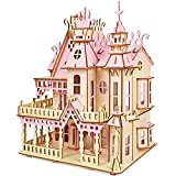"""3D Puzzles for Adults, DIY Pink Castle Simulates Wooden Puzzles Mini House for Girls 14+ Years Old, 183Pcs Finished Size 11""""x 7.3""""x 14.6"""""""