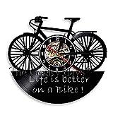 LKJHGU Motocicleta Scooter Motocicleta Motto Biker Decoración del hogar Diseño Moderno Arte Vida Ciclismo Disco de Vinilo Retro Reloj de Pared de Vinilo Bicicleta Reloj de Pared de Vinilo Mejor