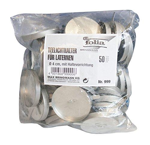 folia 999 - Teelichthalter für Laternen, 50 Stück, mit Haltevorrichtung