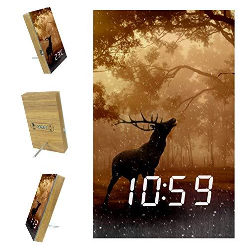 nakw88 Elk Nature - Reloj despertador digital para dormitorio, con puerto USB para cargar, oficina y decoración del hogar