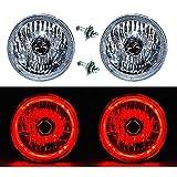 OCTANE LIGHTING 55 56 57 Chevy Halogen Red Led Halo Headlight Headlamp H4 Light Bulbs 7' Pair