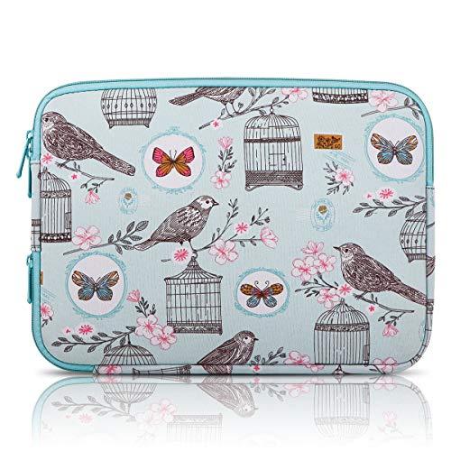 Arvok 12,9-13,3 inch waterdichte laptop sleeve case laptop hoes tas met hoekritssluiting voor het opladen, voor ultrabook/netbook tablet hoes/aktetas 15,6 Zoll Blauwe vogel