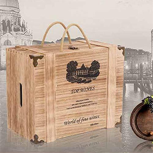 ZHJC Personalisierte hölzerne Weinkiste 3 Flaschen Champagner oder Whisky in Geschenk Holz Weinkiste Weihnachtsgeschenkbox (Farbe : As Shown, Size : 35x18x27cm)