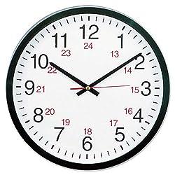 KornKan Universal 24-Hour Round Wall Clock 12 5/8 Black