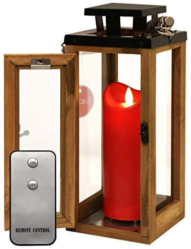 Dekovita Holz-Laterne 30cm Temperglas Gartenlaterne inkl. Tronje 18cm Outdoor LED-Kerze Rot m. Timer u. Fernbedienung
