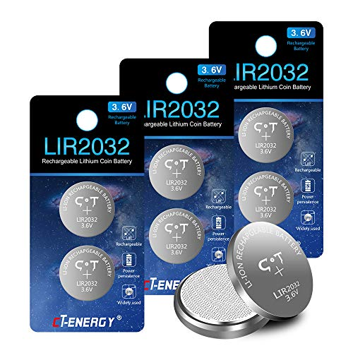8pcs CT-ENERGY Rechargeable 2032 Batteries,3.6V Lithium-ion Coin Button Batteries for Car Alarm Battery, Replace 3V CR2032 Batteries