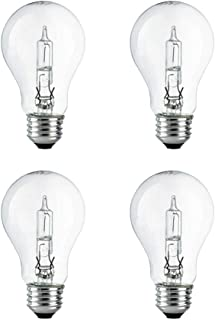 A19 Clear Halogen Light Bulb, 43 Watt, (60W Equivalent), 2700K Soft White, E26 Medium Base, 750 Lumens, 120V (4 Pack)