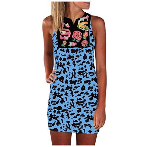 Dasongff Sommerkleid Damen, Basic Casual Trägerkleid Ethnisch Stil V-Ausschnitt Stickerei Tshirt Kleid Leopardenmuster Strandkleider Minikleid Dress Slim Partykleid Freizeit Kleid Etuikleid