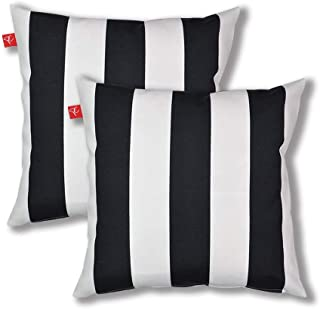 Pcinfuns Outdoor Decorative Pillows with Insert Black and White Stripe Throw Pillow Covers All Weather Patio Cushions 18