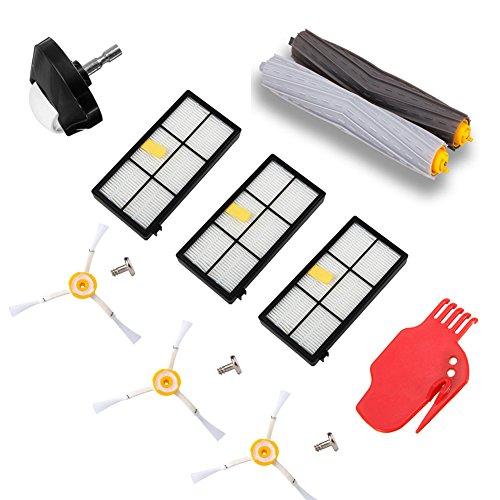 aotengou Kit d'accessoires pour iRobot Roomba 800 900 Série 805 850 860 861 864 866 870 871 880 885 890 960 966 980 990 Pièces de Rechange Recharge iRobot Set Hepa Filtre Rouleau Brosse Latérale