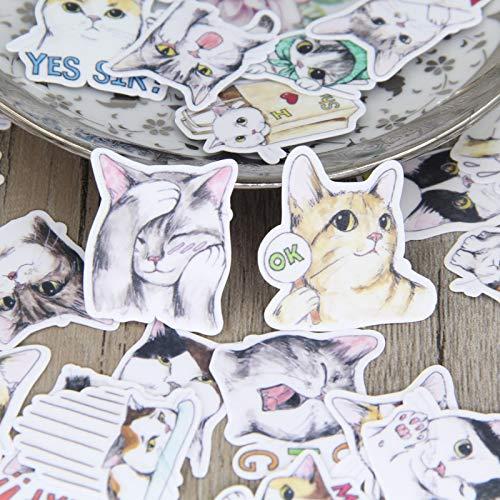 DONGJI Lindo Gatito Pintado a Mano Paquete de Pegatinas caseras línea Variedad Kitty Manual Diario álbum decoración Pegatina 40 Uds