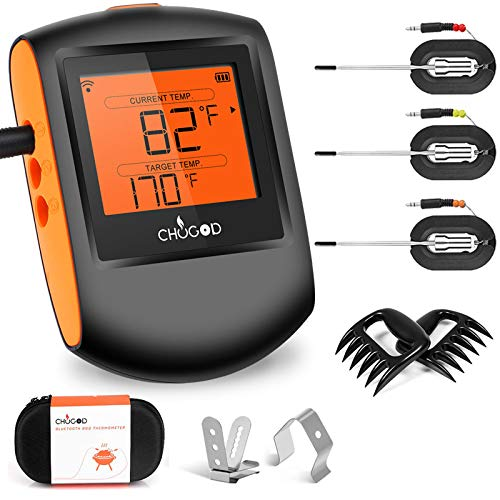 Meat Thermometer Bluetooth - CHUGOD BBQ Cooking Thermometer Remote Digital Cooking Food Meat Thermometer with 3 Probes for Smoker Grilling Oven Kitchen(Carrying Case Included)