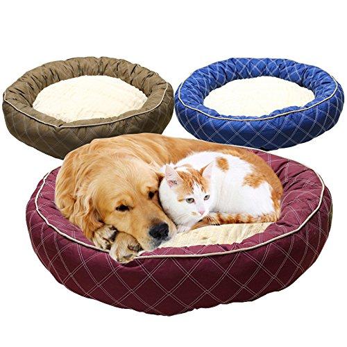 Pet Online Gran perrera otoño cálido engrosada transpirable de algodón pet bed, 80 * 80 * 20 CM, marrón
