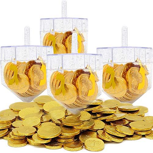 Dreidel Filled with Hanukkah Chocolate Gelt Coins, 40 Belgian Chocolate Menorah Embossed Coins, Chanukah Gelt, Kosher (4-Pack)