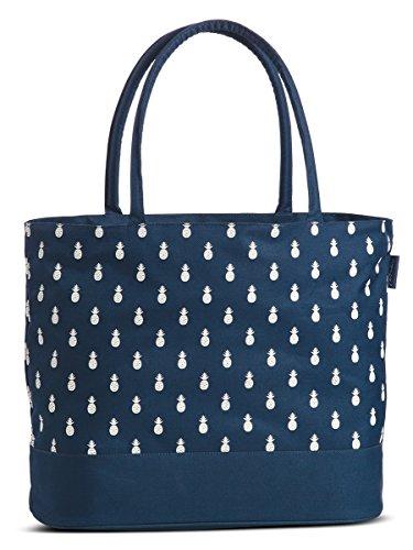 Umhängetasche Badetasche wasserabweisend Einkaufstasche mit Reißverschluss Tasche in Blau moderner Ananas Print