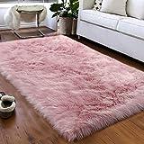 Softlife Fluffy Faux Fur Sheepskin Rugs Luxurious Wool Area Rug for Kids Room Bedroom Bedside Living Room Office Home Decor Carpet ( 3ft x 5ft, Pink )