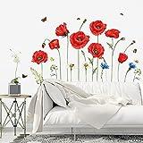 decalmile Pegatinas de Pared Amapola Roja Vinilos Decorativos Flores Mariposa Adhesivos Pared Oficina Habitación Dormitorio Salón