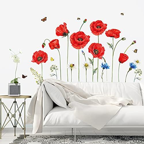 decalmile Adesivi Murali Papaveri Rossi Adesivi da Parete Fiori Farfalla Decorazione Murale Hotel Ufficio Soggiorno Camera da Letto