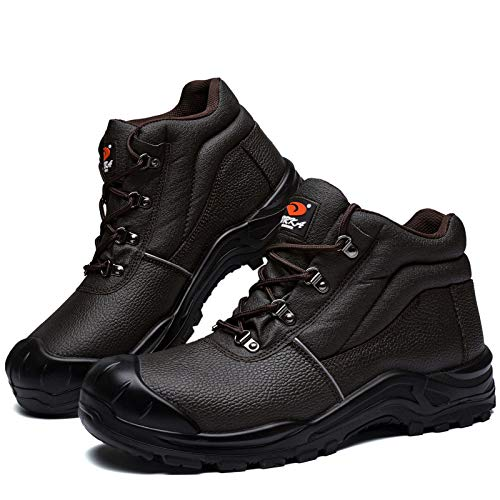 DRKA Water Resistant Steel Toe Work Boots for Men,6'' EH-Rated Safety Boots brown Size: 9 UK