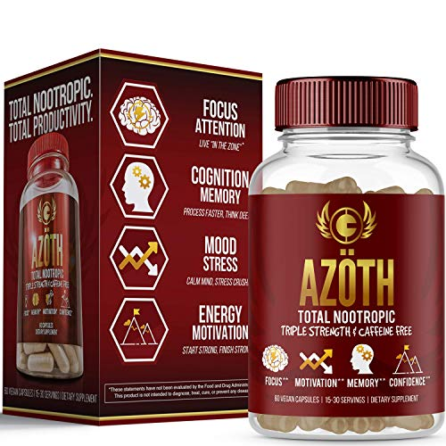 AZOTH Super Strength Nootropic for Focus, Anxiety, Motivation, Confidence, Mood, Cognitive Enhancement-100% Caffeine Free-Made in USA in FDA & cGMP Compliant Facility