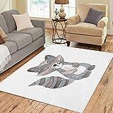 Pinbeam Area Rug Animal Raccoon Watercolor Woodland Nursery Drawing Baby Beautiful Home Decor Floor Rug 3' x 5' Carpet
